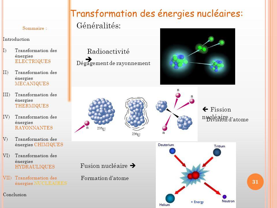 Transformation des énergies nucléaires: