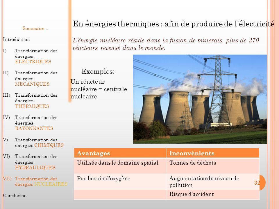En énergies thermiques : afin de produire de l'électricité