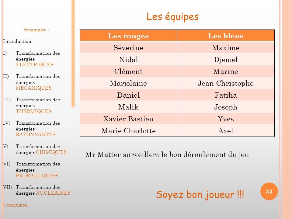 Les équipes Soyez bon joueur !!! Les rouges Les bleus Séverine Maxime
