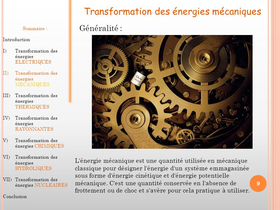 Transformation des énergies mécaniques