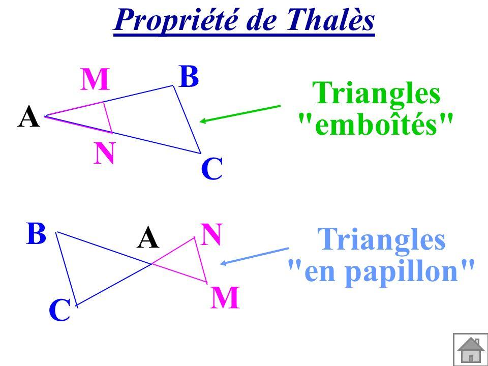 Propriété de Thalès A M N C B Triangles emboîtés A M N C B Triangles en papillon