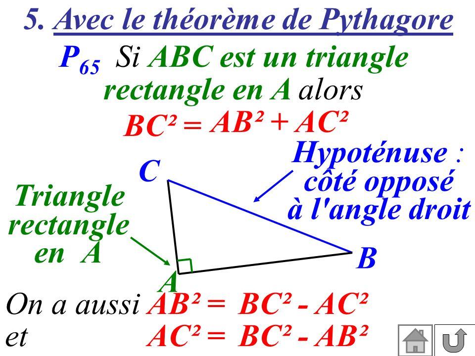 5. Avec le théorème de Pythagore