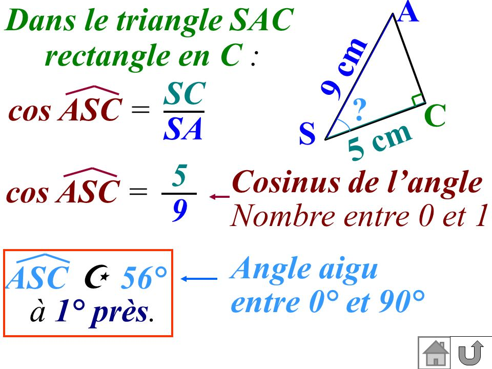 A S. C. 5 cm. 9 cm. Dans le triangle SAC. rectangle en C : SC. SA. cos ASC = 5. 9. Cosinus de l'angle.