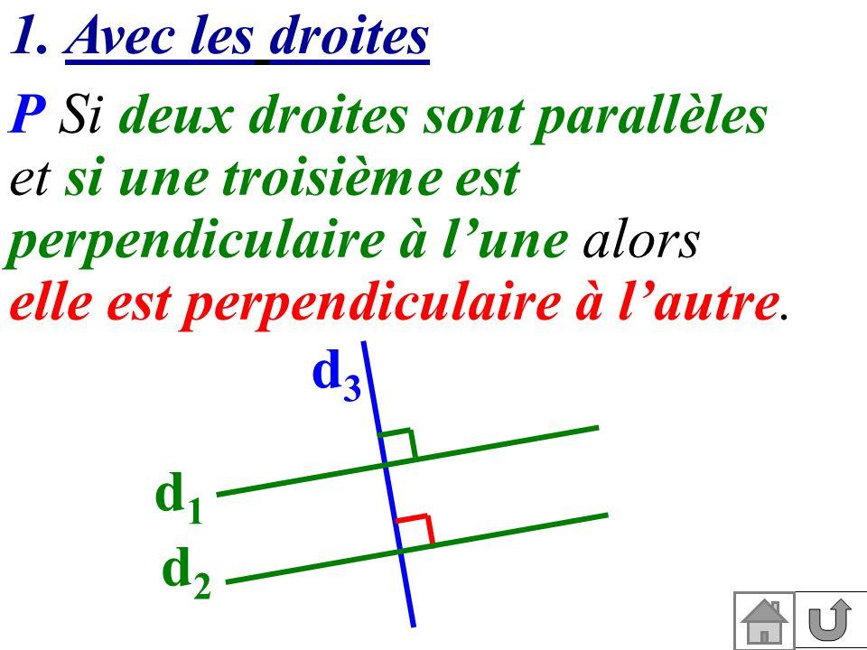 1. Avec les droites P Si deux droites sont parallèles. et si une troisième est perpendiculaire à l'une alors.