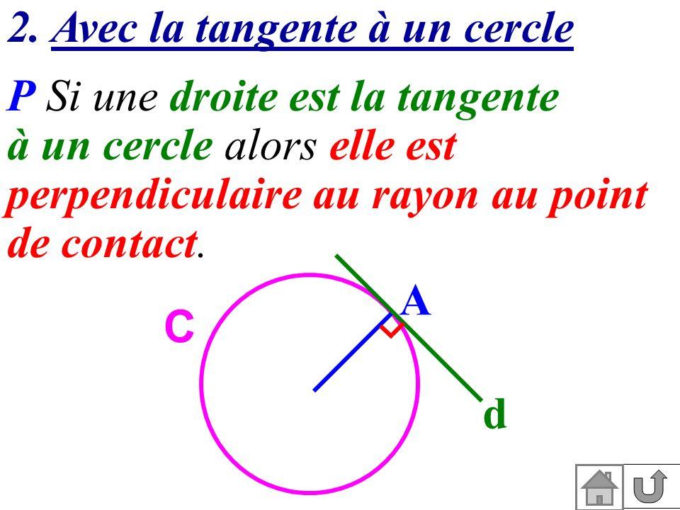 2. Avec la tangente à un cercle