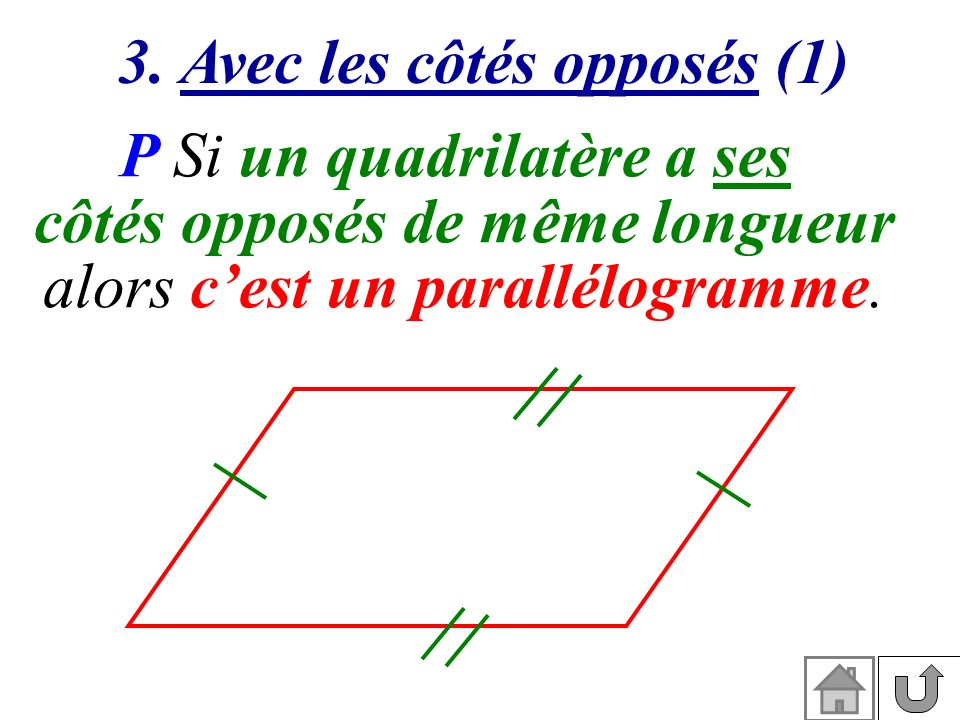 3. Avec les côtés opposés (1) côtés opposés de même longueur