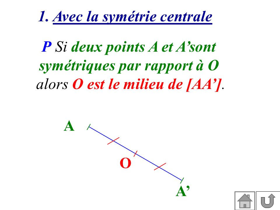 1. Avec la symétrie centrale