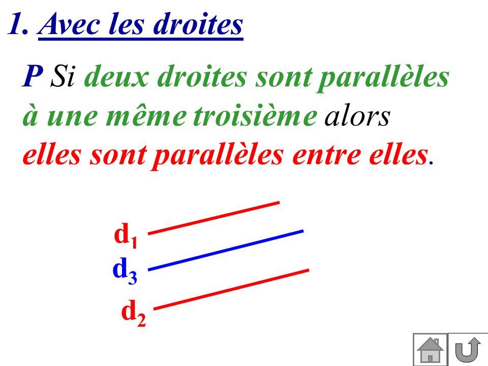 P Si deux droites sont parallèles à une même troisième alors