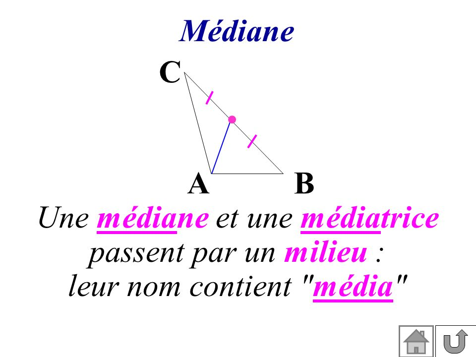 Une médiane et une médiatrice passent par un milieu :