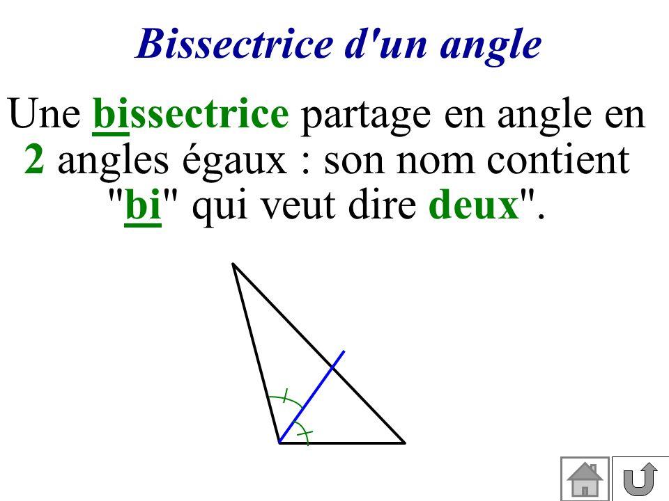Une bissectrice partage en angle en 2 angles égaux : son nom contient