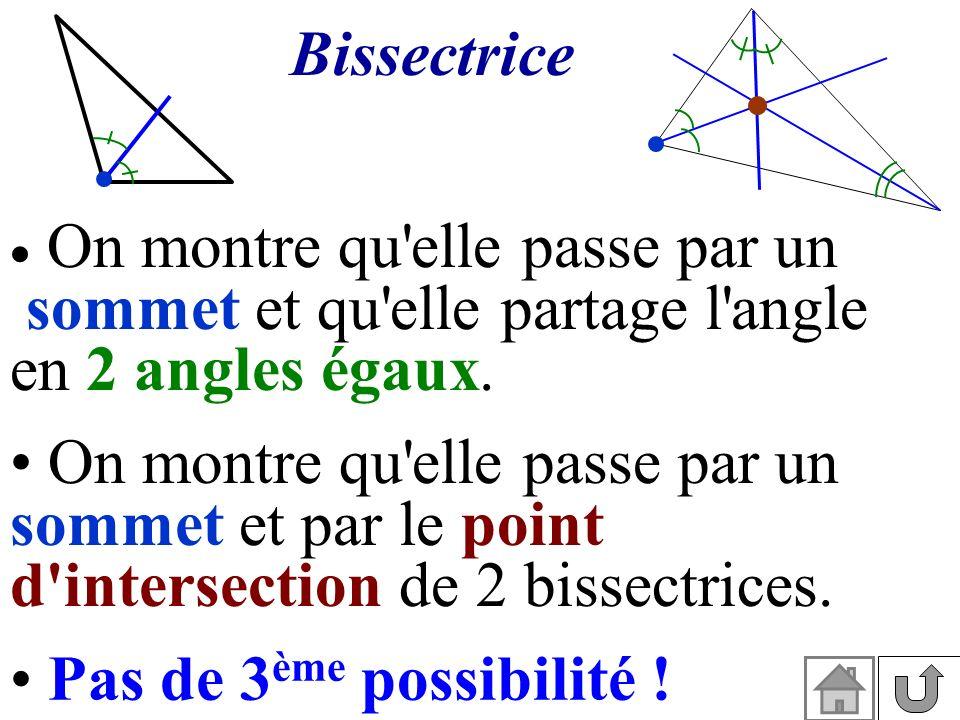 Bissectrice On montre qu elle passe par un. sommet et qu elle partage l angle. en 2 angles égaux.
