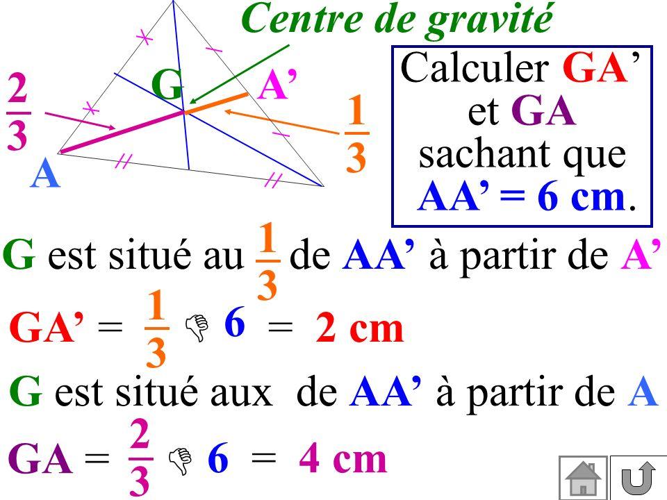 G est situé aux de AA' à partir de A