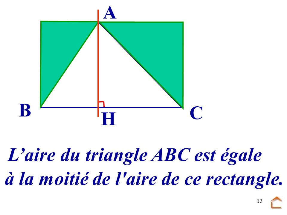 A B C H L'aire du triangle ABC est égale à la moitié de l aire de ce rectangle.