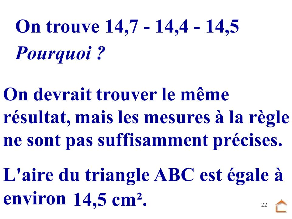 On trouve 14,7 - 14,4 - 14,5 Pourquoi 14,5 cm².