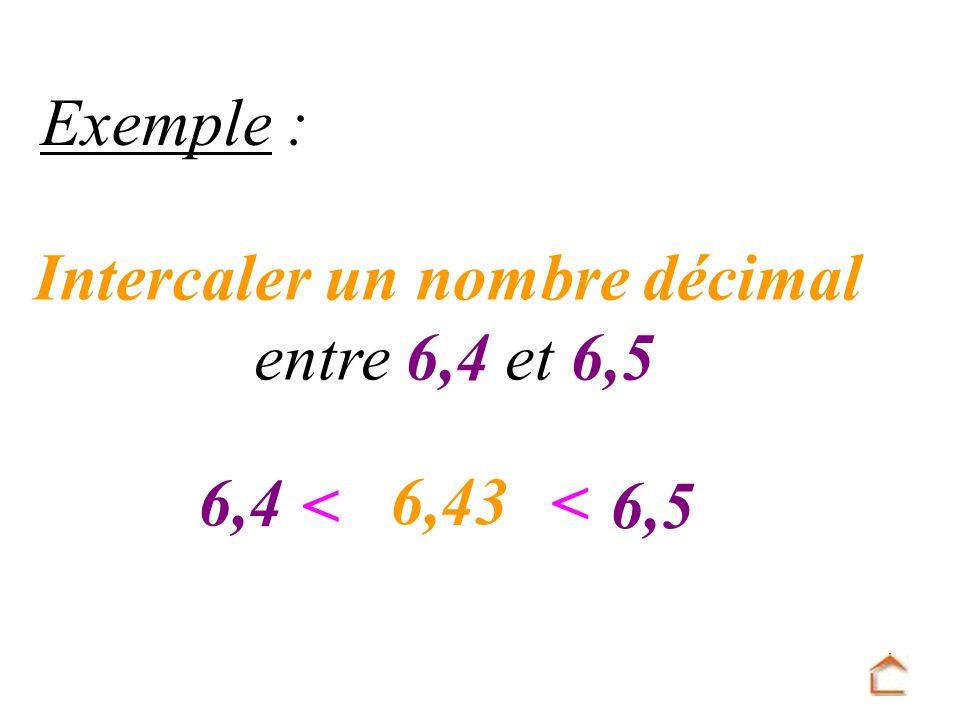 Intercaler un nombre décimal