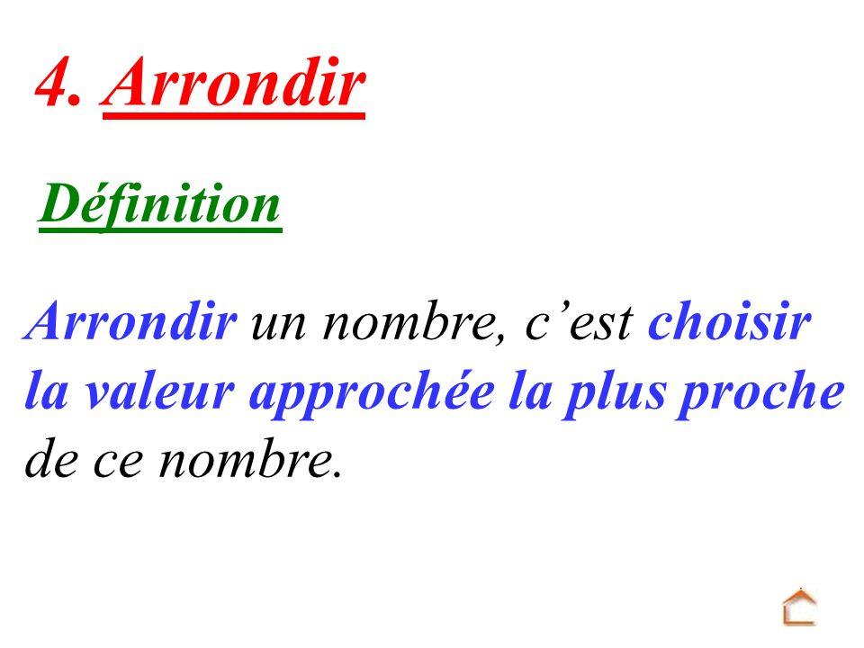 4. Arrondir Définition Arrondir un nombre, c'est choisir