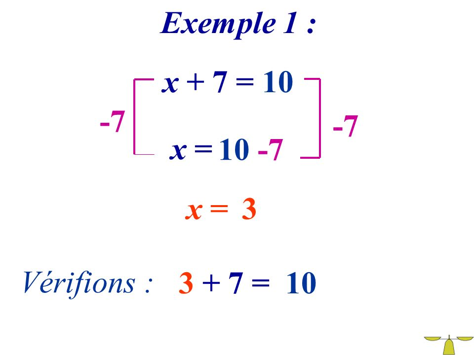 Exemple 1 : x + 7 = 10 -7 -7 x = 10 -7 x = 3 Vérifions : 3 + 7 = 10