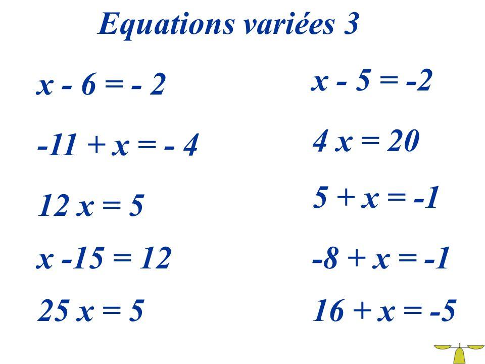Equations variées 3 x - 5 = -2. x - 6 = - 2. 4 x = 20. -11 + x = - 4. 5 + x = -1. 12 x = 5. x -15 = 12.
