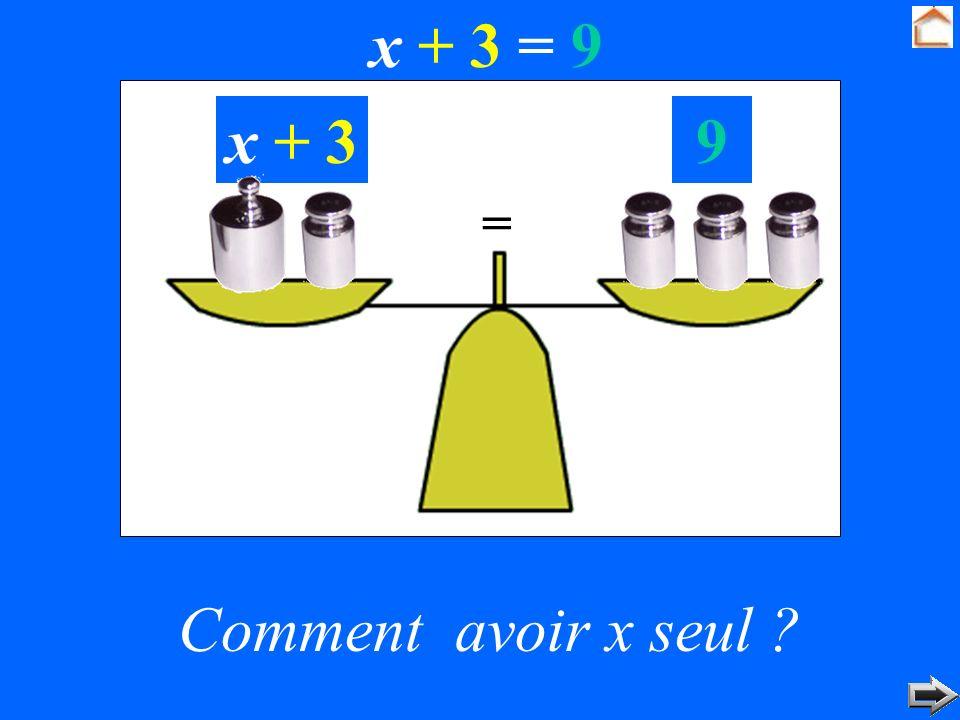 x + 3 = 9 x + 3 9 = Comment avoir x seul