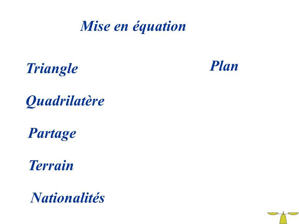 Mise en équation Plan Triangle Quadrilatère Partage Terrain Nationalités