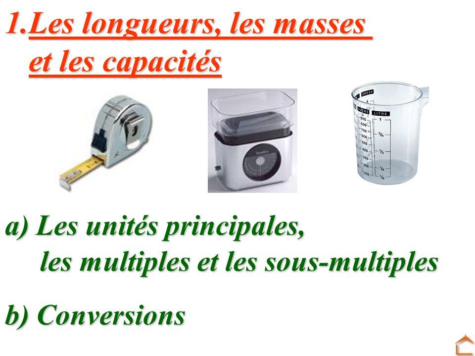Les longueurs, les masses et les capacités