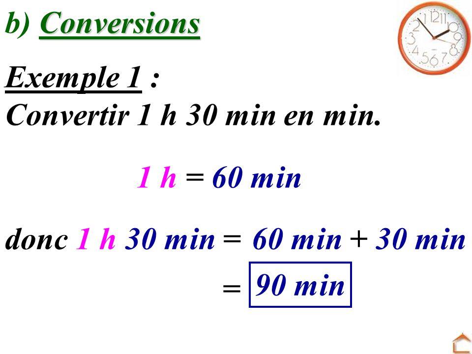 b) Conversions Exemple 1 : Convertir 1 h 30 min en min. 1 h = 60 min. donc 1 h 30 min = 60 min + 30 min.