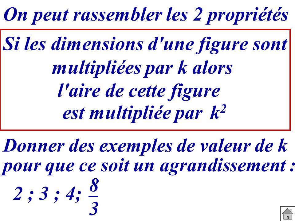 Si les dimensions d une figure sont multipliées par k alors