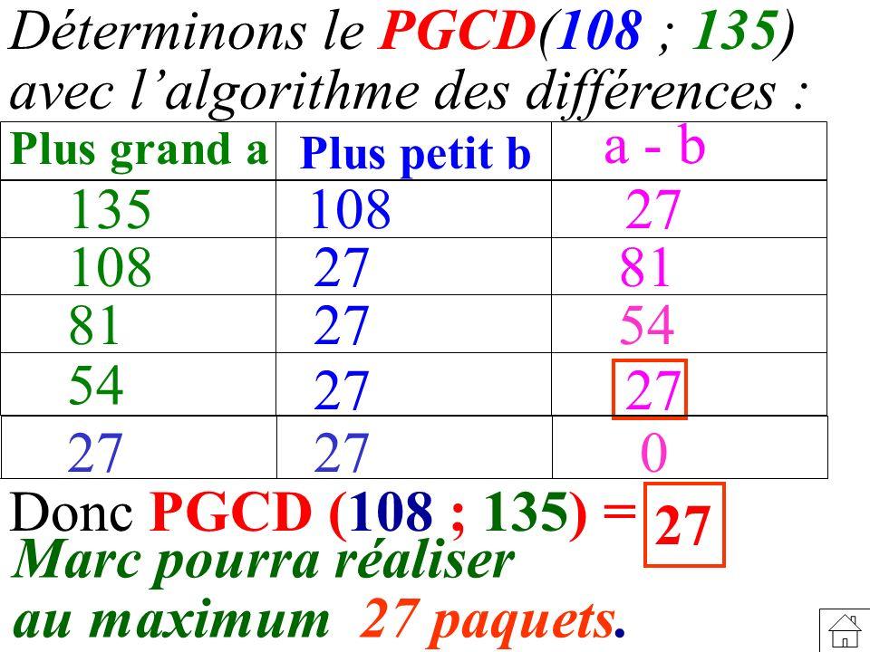 Déterminons le PGCD(108 ; 135) avec l'algorithme des différences :