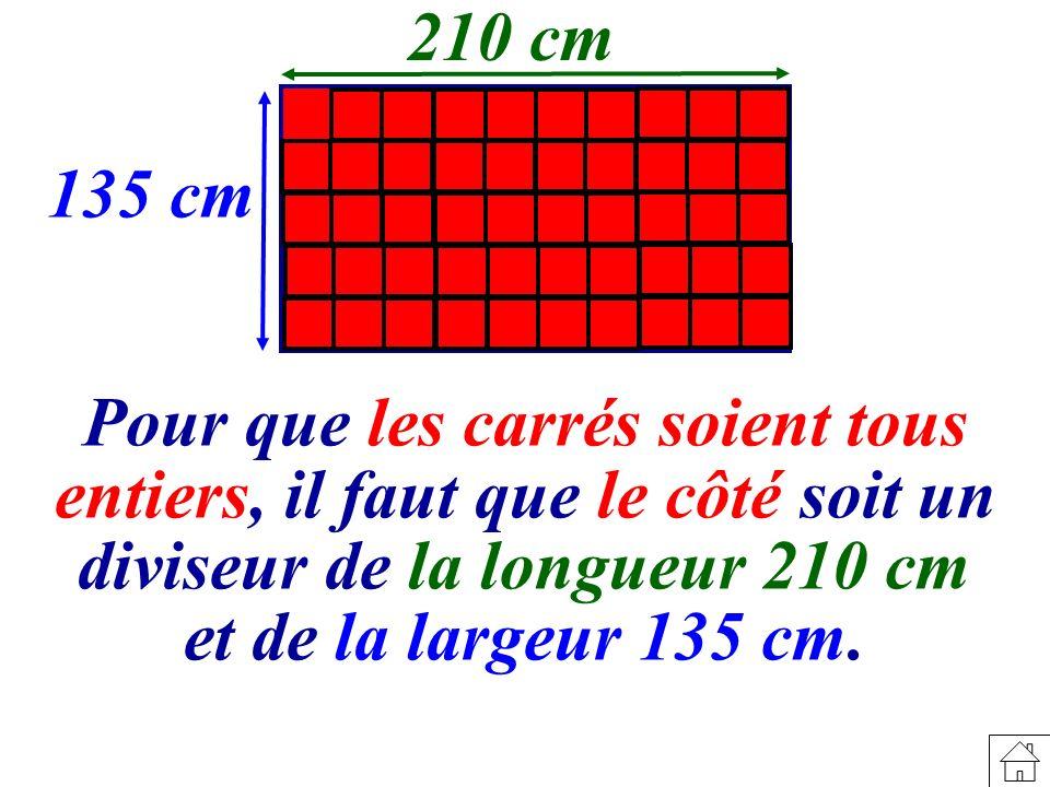 210 cm 135 cm. Pour que les carrés soient tous entiers, il faut que le côté soit un diviseur de la longueur 210 cm.