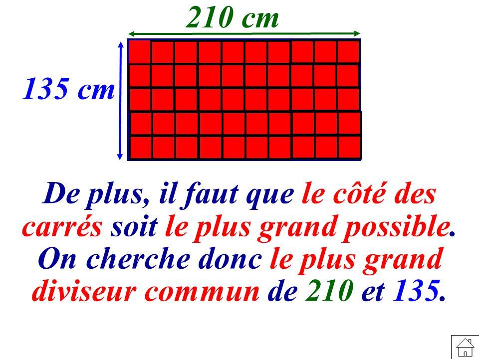 De plus, il faut que le côté des carrés soit le plus grand possible.