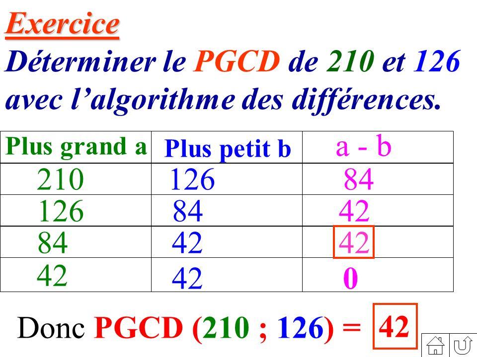Déterminer le PGCD de 210 et 126 avec l'algorithme des différences.