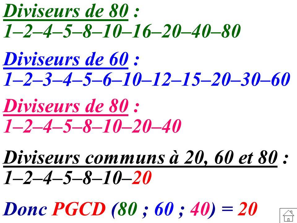 Diviseurs de 80 : 1–2–4–5–8–10–16–20–40–80. Diviseurs de 60 : 1–2–3–4–5–6–10–12–15–20–30–60. Diviseurs de 80 :