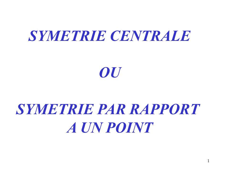 SYMETRIE CENTRALE OU SYMETRIE PAR RAPPORT A UN POINT