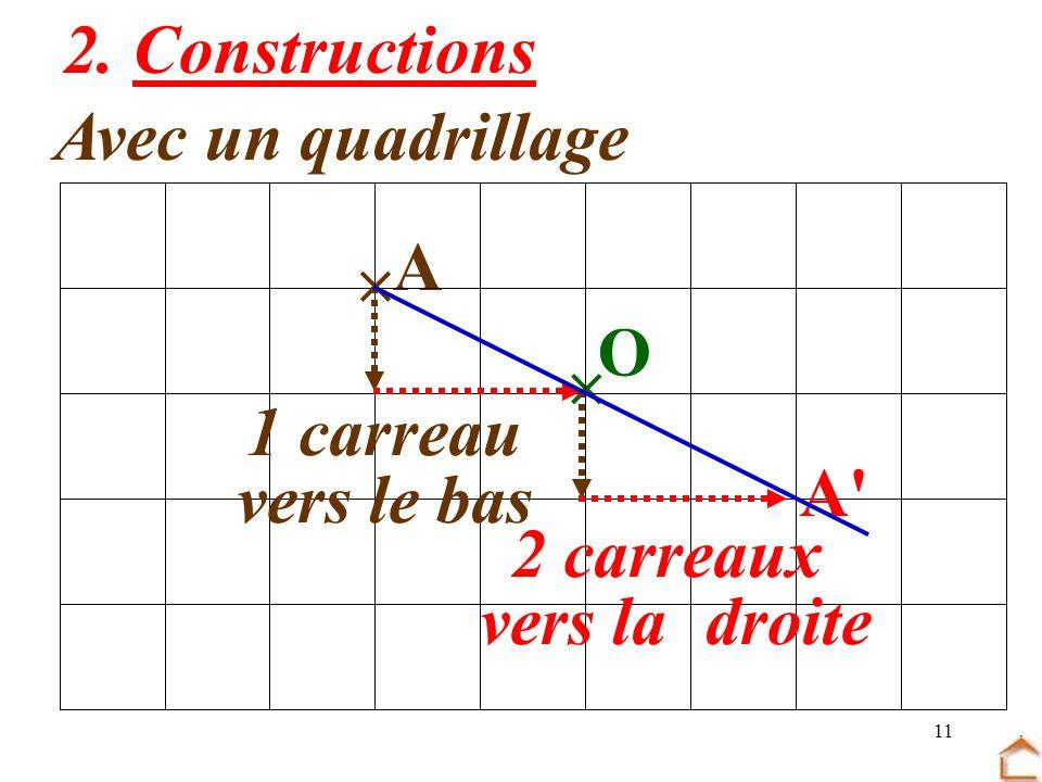2. Constructions Avec un quadrillage  A  O 1 carreau vers le bas A 2 carreaux vers la droite