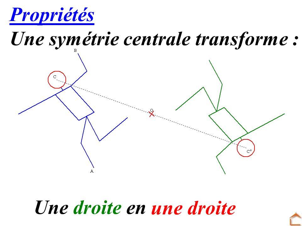 Propriétés Une symétrie centrale transforme : Une droite en une droite