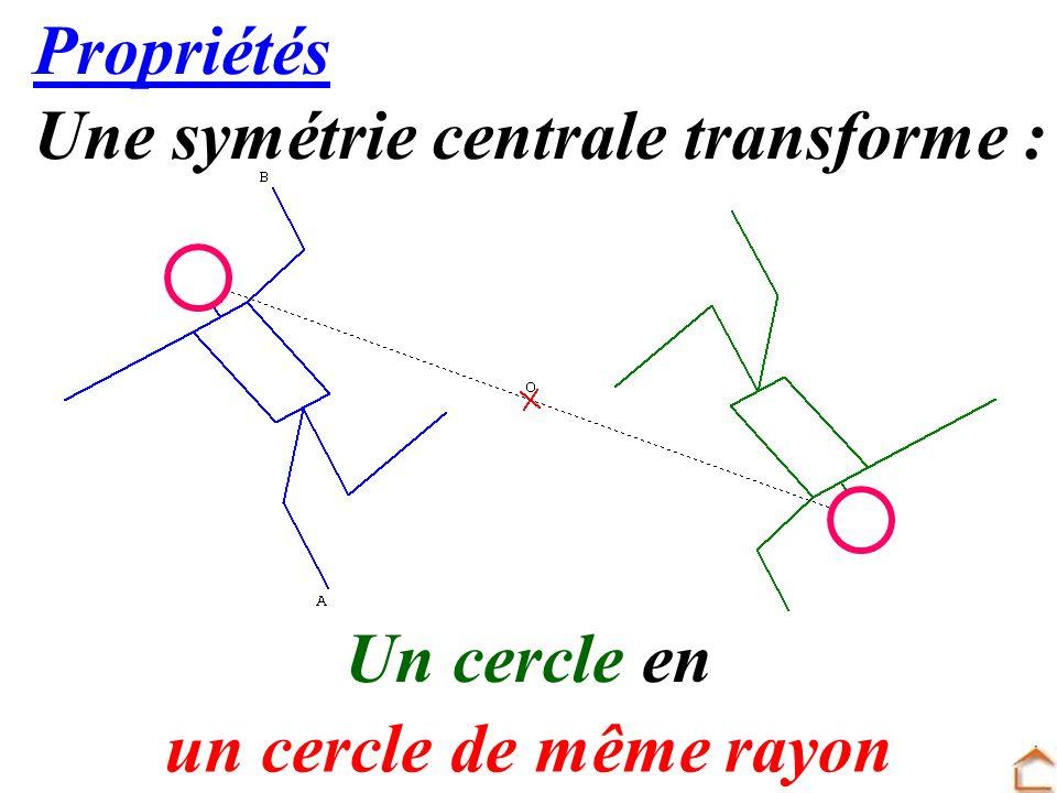 Propriétés Une symétrie centrale transforme : Un cercle en un cercle de même rayon