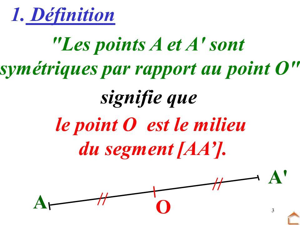 symétriques par rapport au point O