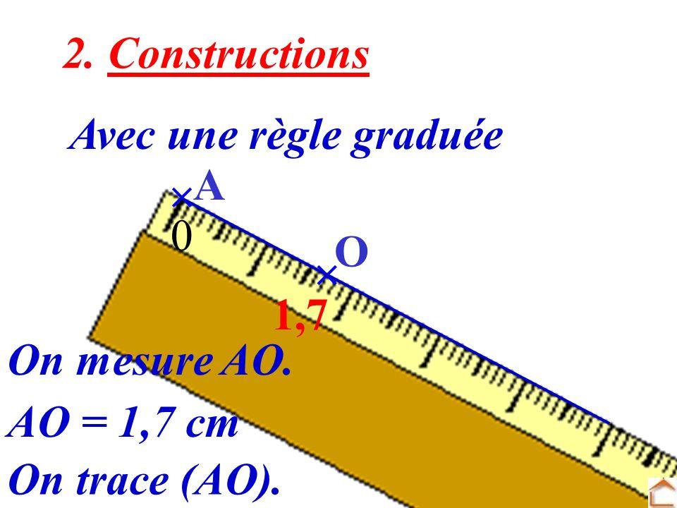 2. Constructions Avec une règle graduée  A O  1,7 On mesure AO. AO = 1,7 cm On trace (AO).