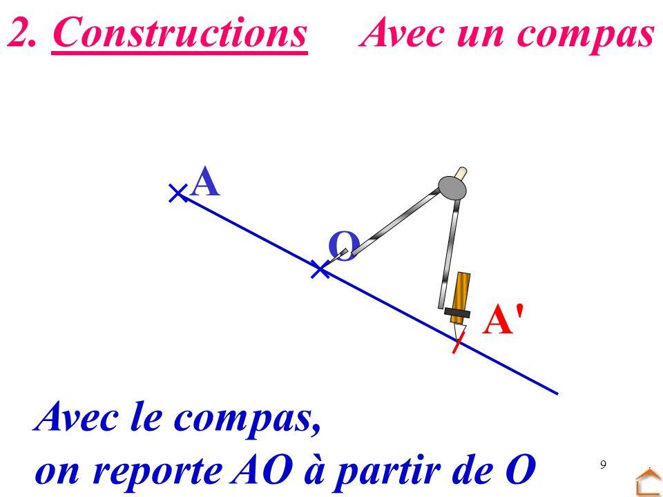 2. Constructions Avec un compas  A O  A Avec le compas, on reporte AO à partir de O