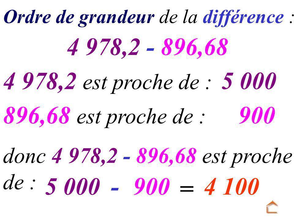 4 978,2 - 896,68 4 978,2 est proche de : 5 000 896,68 est proche de :