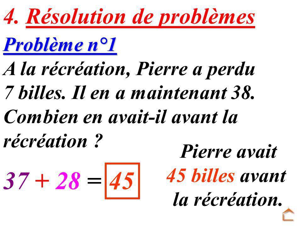 37 + 28 = 45 4. Résolution de problèmes Problème n°1