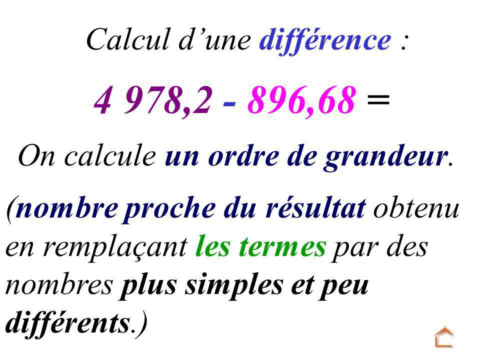4 978,2 - 896,68 = Calcul d'une différence :
