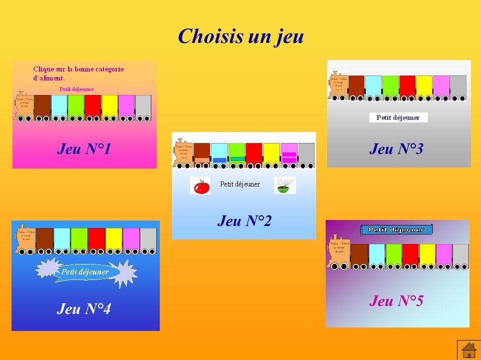 Choisis un jeu Jeu N°1 Jeu N°3 Jeu N°2 Jeu N°5 Jeu N°4