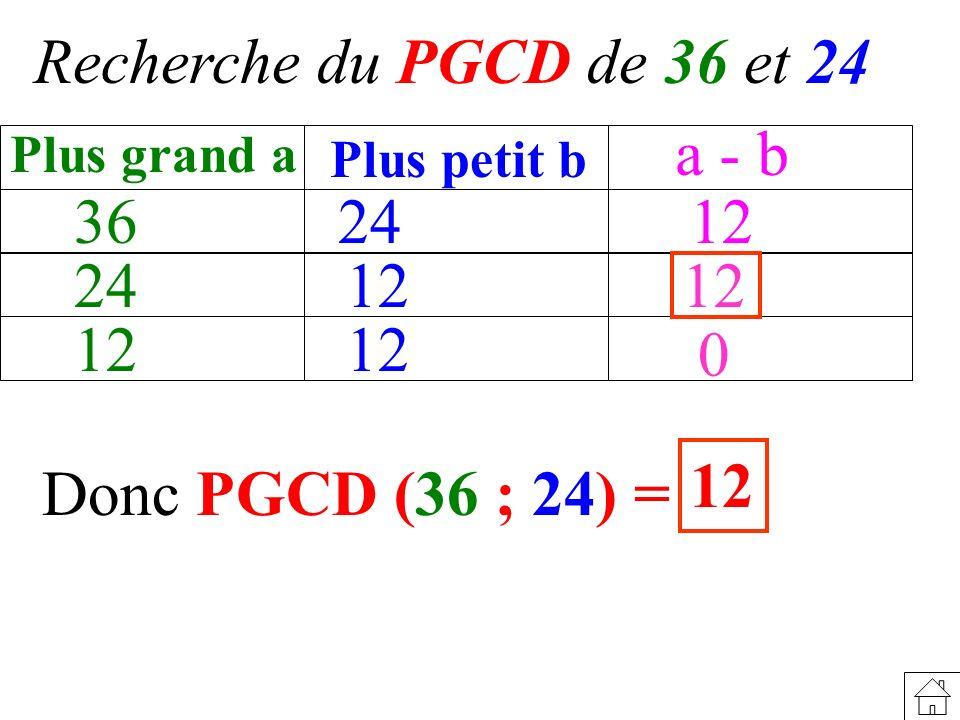 Recherche du PGCD de 36 et 24 a - b 36 24 12 24 12 12 12 12 12