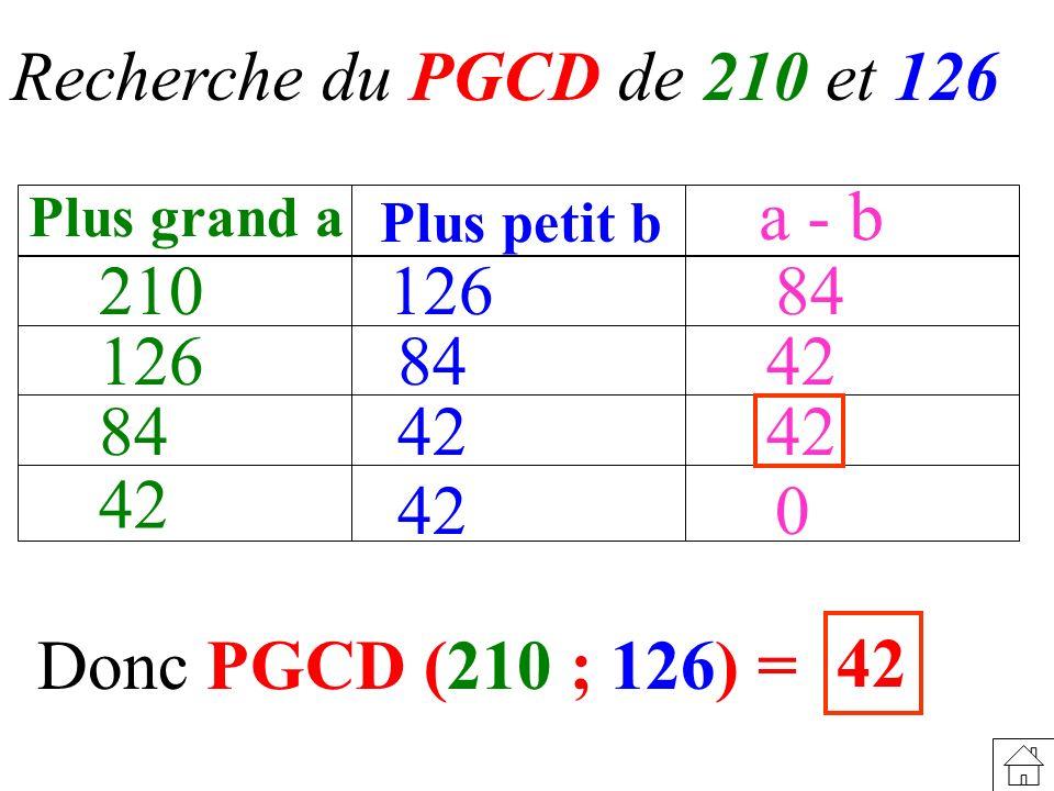 Recherche du PGCD de 210 et 126 a - b 210 126 84 126 84 42 84 42 42 42