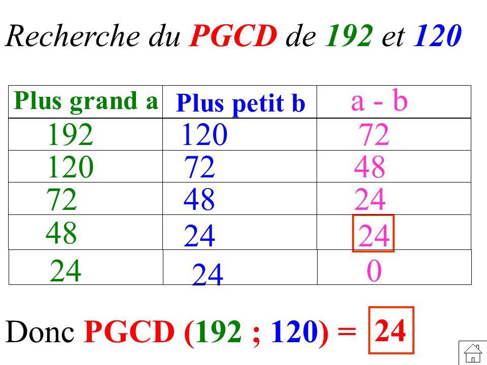 Recherche du PGCD de 192 et 120 a - b 192 120 72 120 72 48 72 48 24 48