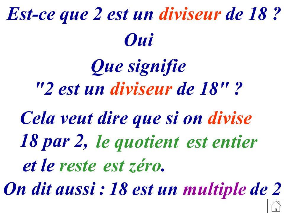 Oui Que signifie 2 est un diviseur de 18
