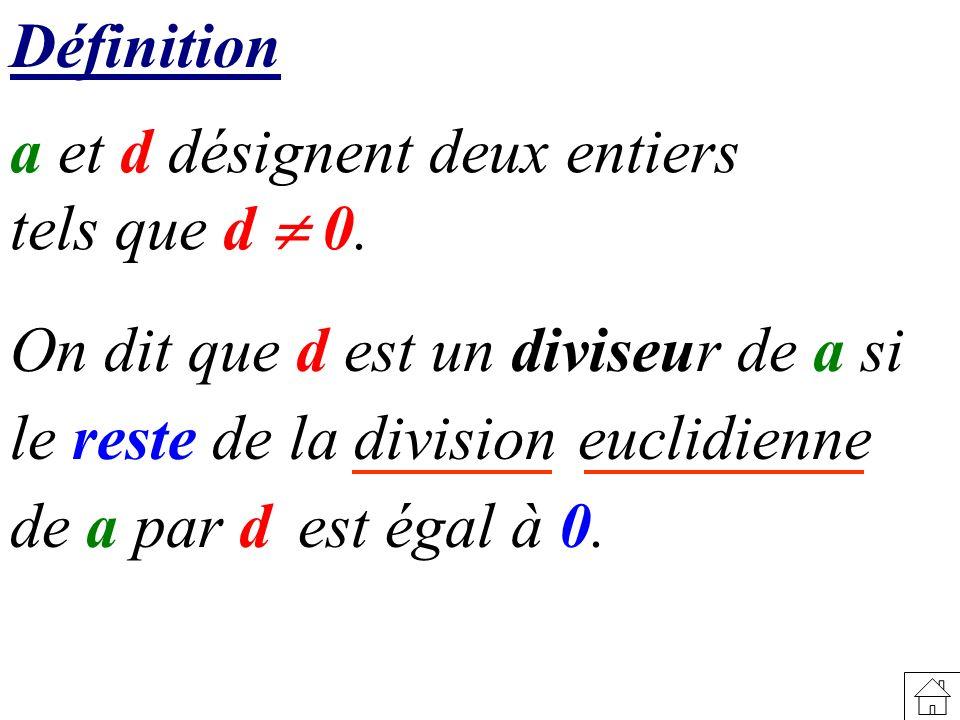 Définition a et d désignent deux entiers. tels que d  0. On dit que d est un diviseur de a si. le reste de la division.