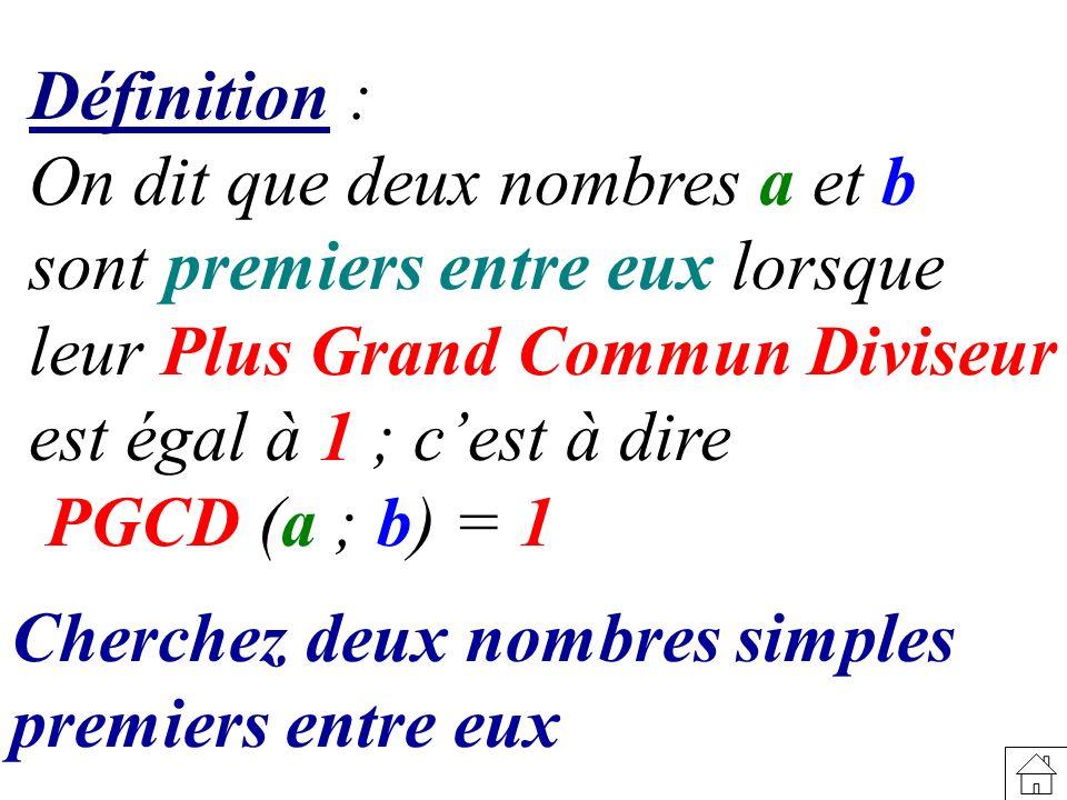 Définition : On dit que deux nombres a et b. sont premiers entre eux lorsque. leur Plus Grand Commun Diviseur.