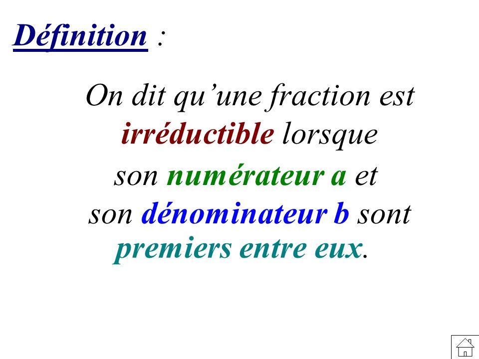 On dit qu'une fraction est irréductible lorsque